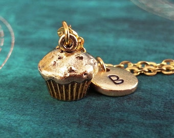 Cupcake Necklace SMALL Muffin Necklace Gold Cupcake Jewelry Personalized Jewelry Cupcake Pendant Necklace Dessert Necklace Food Jewelry