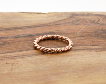 925 Sterling Silver Rose Gold Rope Band Ring
