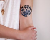 Delft Blue temporary tattoo / floral temporary tattoo / flower temporary tattoo / delft blue gift idea / Dutch gift / boho temporary tattoo