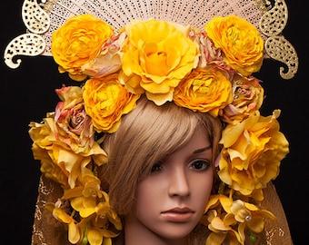 Ready to Ship huge beautiful Vampire yellow Geisha Headdress Flower Fan Trim Asian Princess Headpiece veil summer wedding