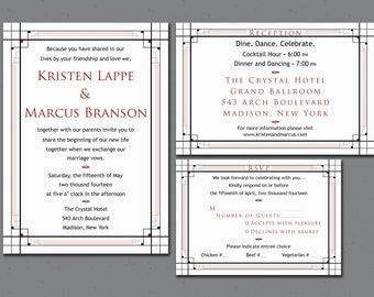 Wedding Invitation Set - Printable - Art Deco - 1920s Invitation Suite