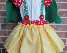 Boutique custom handmade pageant girls Gnome Costume, cape, hat, skirt , blouse, suspenders 12mo-7/8