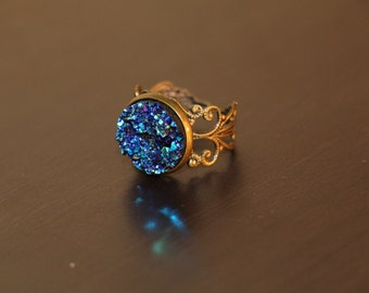 Peacock Ore Regal Ring - Druzy Ring - Antique Bronze Adjustable Ring