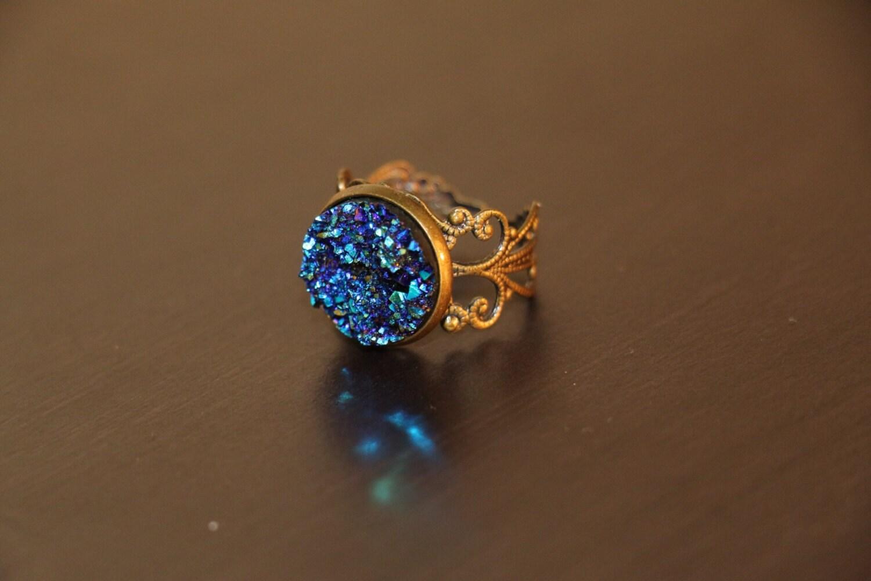 Peacock Ore Regal Ring Druzy Ring Antique Bronze