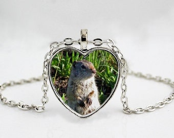 sGroundhog // Ground Squirrel // Woodland Creatures //  Pendant Necklace