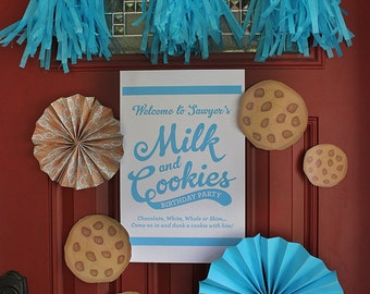 Milk and Cookies Party Welcome Sign - Printable, Cookie Party, Cookies and Milk Birthday Party, Digital Sign, Party Decor