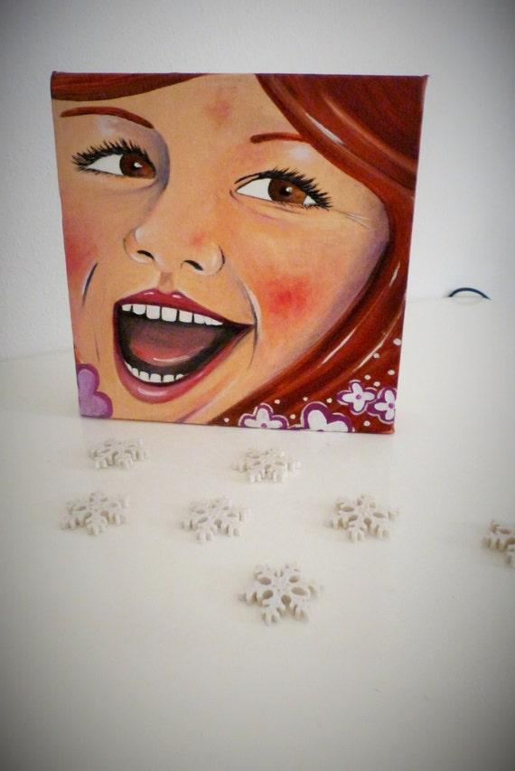 Peinture l 39 huile sur toile tableau visage enfant par rossoviola - Peinture sur visage ...
