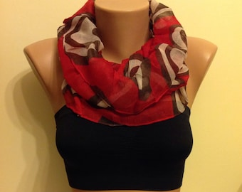 50% Discount -Infinity Scarf, Thin Cotton Scarf, Women Fashion, Gift for Her, Bridesmaid Gift, Red Scarf, Loop Scarf, Sircle Scarf