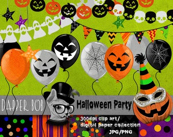 Halloween Party Digital Clip Art Elements for Scrap-booking and Paper Craft