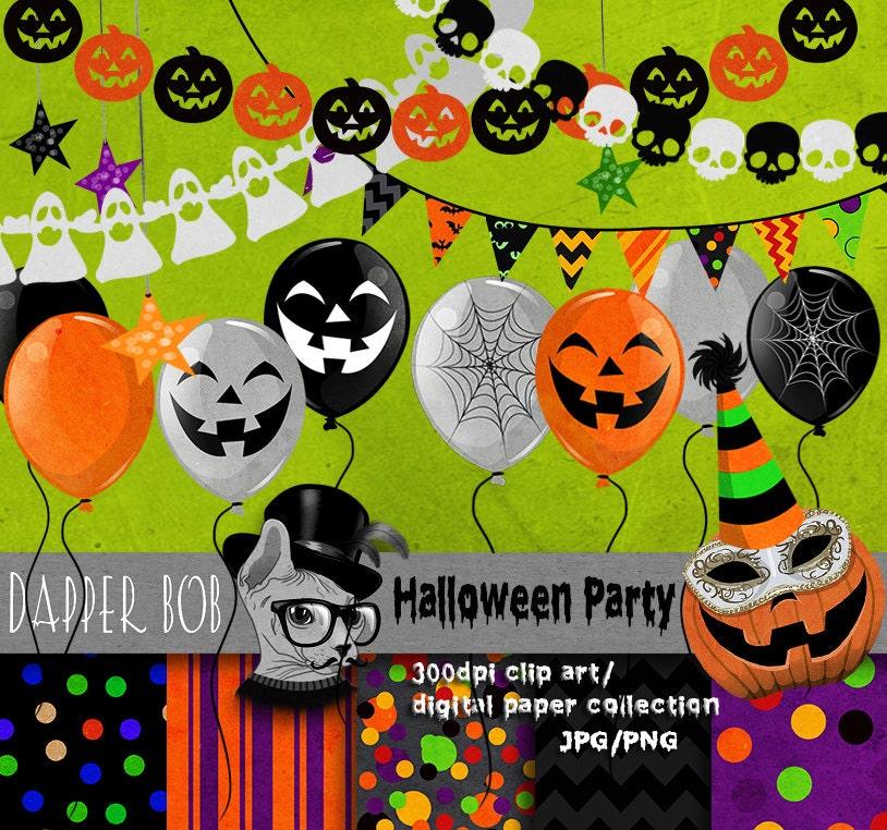 Halloween Party Digital Clip Art Elements For Scrap-booking