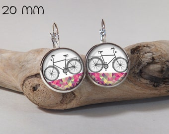 Earring bicycle glass and metals