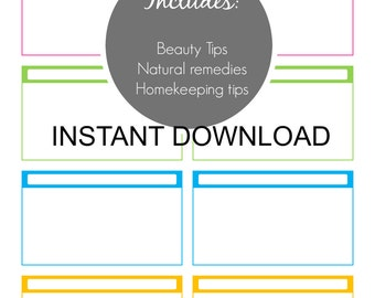 Natural Remedies and Homekeeping Planner Organizer Set, Single PDF, Beauty tips,natural remedies,homekeeping tips PDF Pages,Instant Download