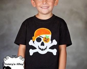 Halloween Pirate Skull- Boys Applique Black Halloween Shirt or Bodysuit