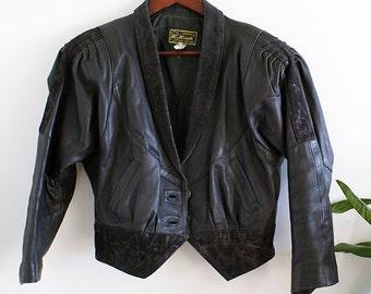 Vintage 70s 80s Black Faux Leather Jacket with Velvet Details