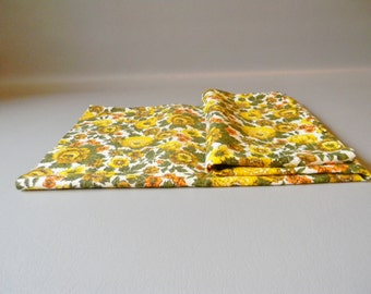 Vintage Mustard Floral Fabric Square