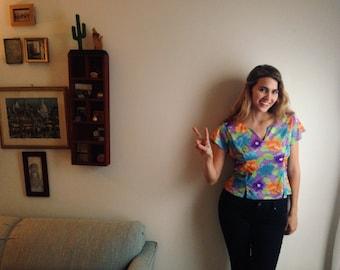 90s floral shirt,  90s crop top,  retro floral crop top, hipster floral crop top,  80s fashion,  hippie crop top