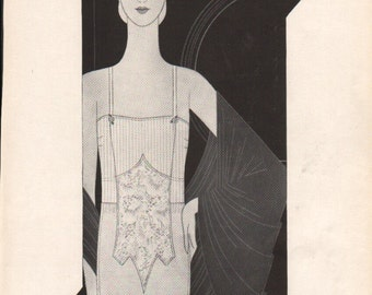 THREE FOR FOUR Art Deco era fashion print from Vogue magazine, front & back - fash 158