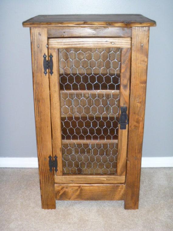 Rustic Pallet cabinet with chicken wire door rustic