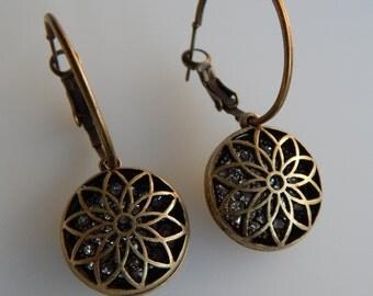 Antiqued Brass Filigree Earrings;  Antiqued Brass & Crystal Earrings; Hoop Earrings; Antique Brass Hoops; Flower Earrings