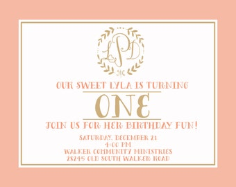 Branch + Monogram birthday invitation-FREE SHIPPING or DIY printable