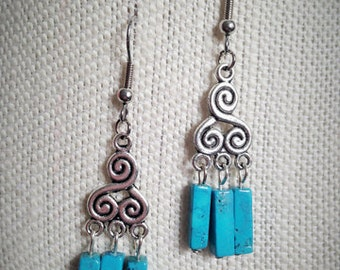 Whimsical Handmade Turquoise and Silver Earrings