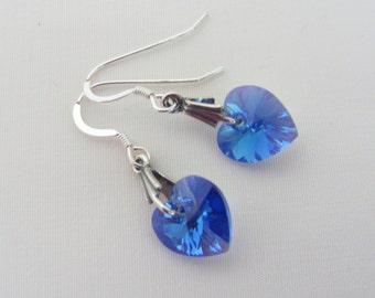 Sapphire Heart Earrings, Swarovski Crystal, Blue Hearts, Birthstone Jewelry, September Birthstone, Sterling Silver, Sapphire Jewelry