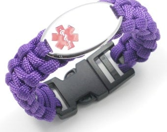 Engraving Included - Purple Paracord Medical Alert ID Bracelet - Kids, Womens & Mens - Engraving Included!!