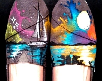 Hand Painted Shoes Custom TOMS Nautical Shoes Sailboat and Sea Compass and Anchor Colorful Sunset Custom Kicks Beach Clothing Marine Design