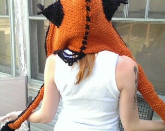 Custom knitted handmade themed spirit hood/rave hood/hooded scarf with pockets and optional ears