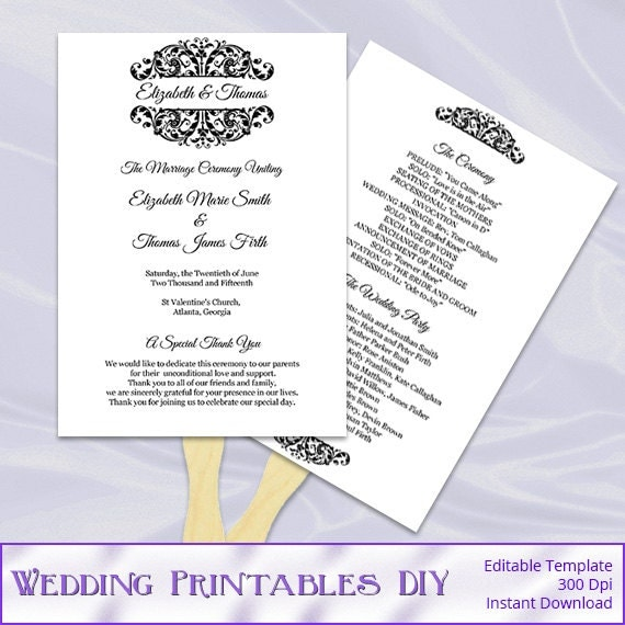 black white wedding program fan template diy ceremony paddle fans