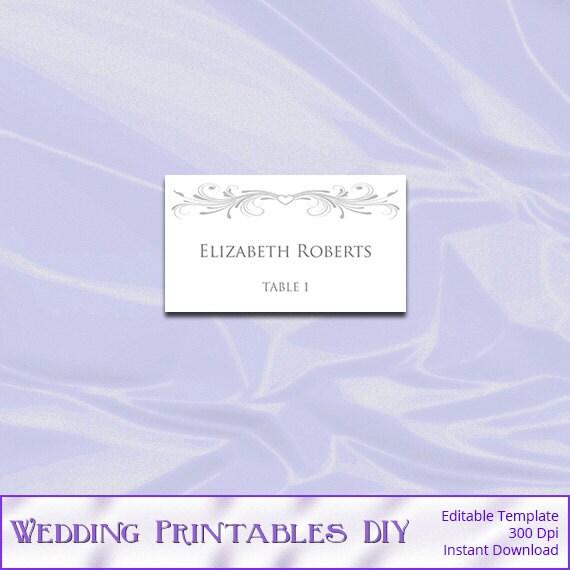 silver wedding place cards template diy printable gray heart