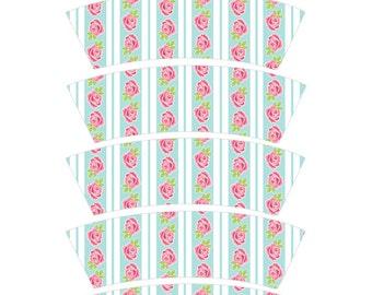 Ice Cream Cone Wrapper, Ice Cream Party printable, Sip and See Printable, Shabby Chic Party Printable,