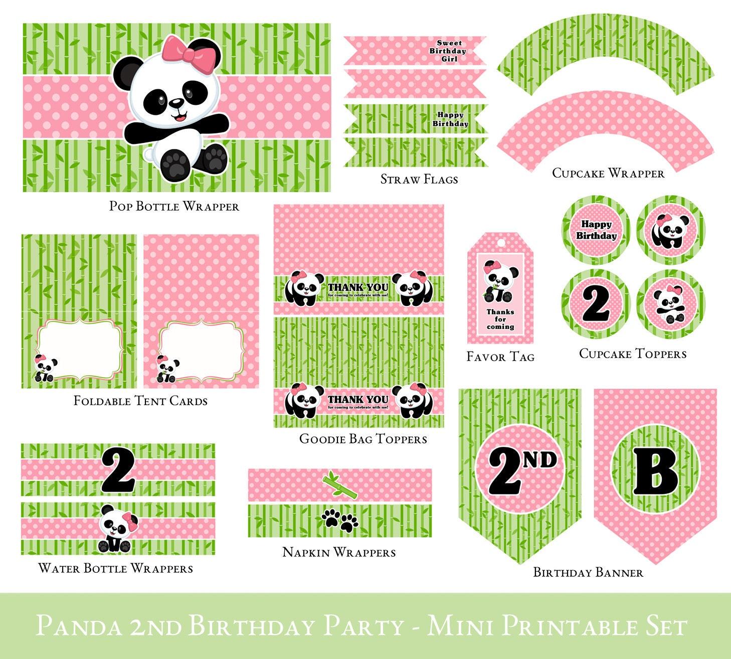 panda 2nd birthday printable mini set panda birthday mini
