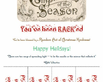 RACK Tear-Tab Flyer Print Random Acts of Christmas Kindness Vintage Compliments of the Season