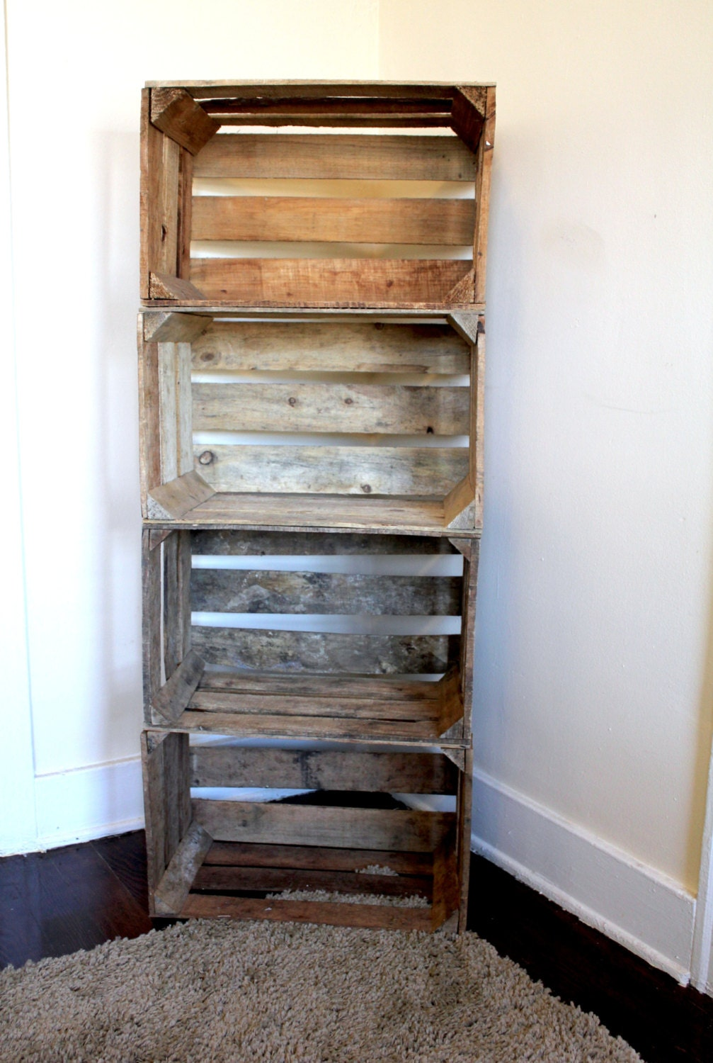 handmade stacked wooden orchard crate bookcase. Black Bedroom Furniture Sets. Home Design Ideas