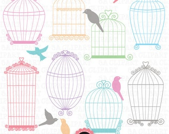 "Birdcages clipart ""BIRDCAGE CLIP ART""pack, Wedding birdcages,Love bird, perfect for Wedding invitation Instant Download Wf033"