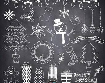 "Chalkboard Christmas Doodles ClipArt ""CHRISTMAS DOODLES "" , hand drawn elements,Winter,Seasons Greetings clipart,scrapbooking Crs011"