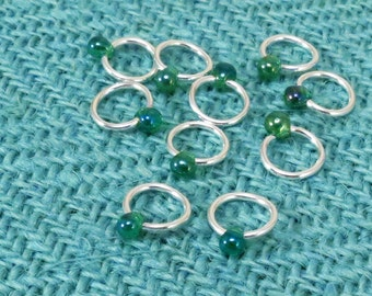 Sterling Silver Plated Stitch Markers, Green Glass Drop Bead, set of 9