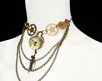Steampunk Necklace Pocket Watch Clockwork Victorian Gears Wheels Antique Gold Bronze Chains Mechanical Time Machine Jewellery Watchwork