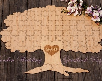 Autumn Fall Spring TREE of Life Alternative Wooden Wedding Guest book Rustic Puzzle