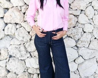 Vintage 70s Pink Rockmount Ranch Wear Western Shirt S // M