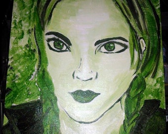 "Original Acrylic Painting on Canvas Green Monochromatic Woman, Signed ""Elvera"" from Pieces of Me Portfolio One of a kind"