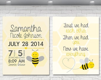 2 PC SET First We Had You Yellow Bumble Bee Nursery Print, 8x10 Custom Baby Art, Personalized Baby Nursery Art, Baby Shower Gift