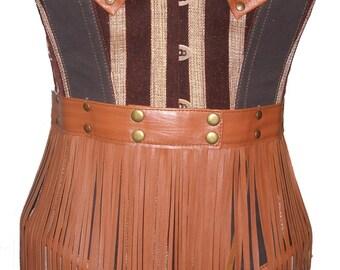 Steampunk Leather Overbust Corset Top Waist Cincher