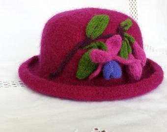 Hand knit Fuchsia Wool Felt Hat with Fuchsia Sprig