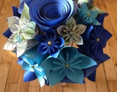 Paper Flower Kusudama Roses Bouquet - Blue, Teal, and Patterned