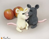 Crochet mouse, stuffed mouse, crochet animal, amigurumi mice, Grey or Cream crochet Mouse - Mice Maurice and Miranda