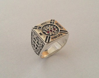 Knights Templar Tempelritter Cross Masonic Ring Silver 925 with Stones Swarovski - ALL SIZES !!!