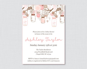 Mason Jar Baby Shower Invitation Printable or Printed Invite - Pink and Brown Baby Shower Invites in Mason Jars and Flowers - 0064-P