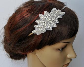 Bridal Headband, , Rhinestone Headband, Wedding Headpiece, Fascinator, Wedding Hair Accessory, Ribbon Bridal Headband, prom, bridesmaid gift